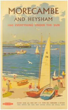 Quad Royal - Page 3 of 95 - British post war posters and graphics. Train Posters, Railway Posters, British Travel, British Seaside, Stella Art, Morecambe, Train Art, Picture Postcards, Retro Illustration