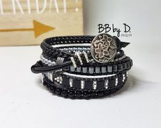 Bracelet Wrap Cuir, perles de verre, Miyuki. Manchette multi-liens bohème hippie noir argenté. Boho leather wrap bracelet made in France Hippie Style, Bracelet Wrap, Boho, France, Times, Accessories, Jewelry, Link, Fashion