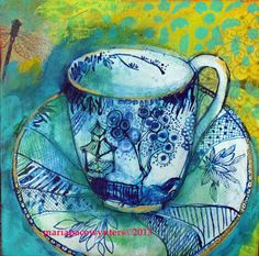 """Maria Pace-Wynters: """"Teapot and Teacup Triptych, #2"""", Mixed Media on Wood Cradle."""