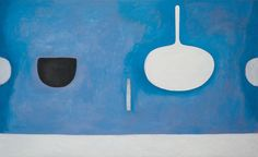 William Scott Blue Still Life with Knife, 1971, Oil on canvas, 121.9 × 198.1 cm / 48 × 78 in, AIB Collection, Crawford Art Gallery, Cork