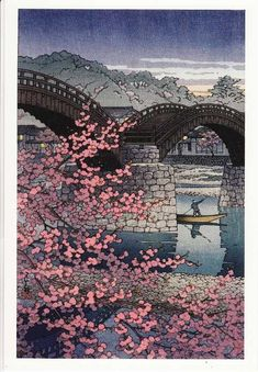 Spring Evening at Kintai Bridge Kawase Hasui (Japan, Japan, 1947 Prints; woodcuts Color woodblock print Image: 14 x 9 in. Paper: 15 x 10 in. x cm) Gift of Mr. Felix Juda Japanese Art I have always enjoyed asian art. It is calming. Japanese Artwork, Japanese Painting, Japanese Prints, Japan Illustration, Japanese Woodcut, Art Asiatique, Japanese Landscape, Japanese Nature, Japan Art