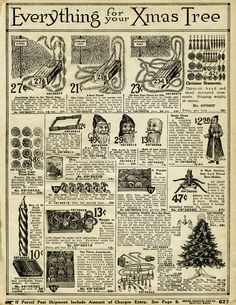 """Everything for Your Xmas Tree"" ~ 1916 Sears & Roebuck Christmas decor catalogue page."
