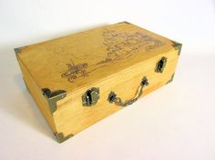 Wood burned castle and knight box by CountryHillCreations on Etsy