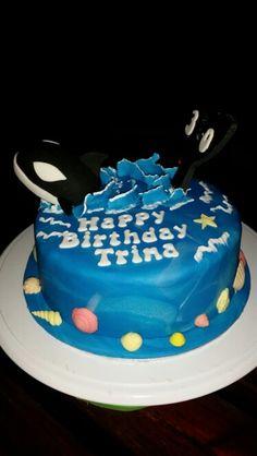 Killer whale orca shamu birthday cake