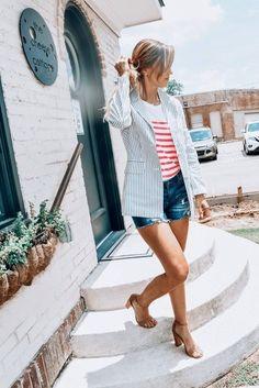 Blue Pinstripe Blazer | Jillian Landry Designs Boutique | Transitional Outfits | Blazers For Women | Work Blazers | Blazer Outfits | Classic Style Blazers | Lightweight Blazer | Casual Style | Classy Style | Street Style | Summer Outfits | Casual Blazer, Blazer Outfits, Transitional Outfits, Classy Style, Style Summer, Blazers For Women, Summer Outfits, Ootd, Street Style