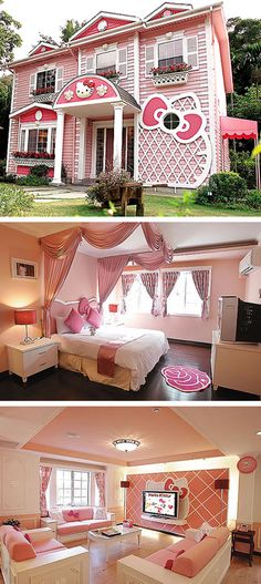 A real life Hello Kitty house... this Hello Kitty villa is located in Taipei, Taiwan.
