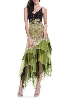 #AdoreWe StyleWe Midi Dresses - CICI WANG Army Green Asymmetrical Ombre/Tie-Dye Spaghetti Evening Dress - AdoreWe.com