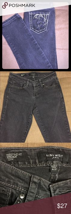 Nine West jeans Nine West westend fit straight black washed jeans size 4/27!                                                                                 ****1 day shipping****** $$$bundle for discounts PLUS private discount$$$ Nine West Jeans Straight Leg