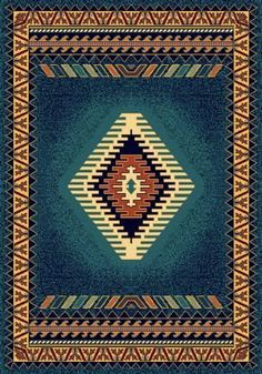 Native American Indian Blanket Pattern Fabric Turquoise By