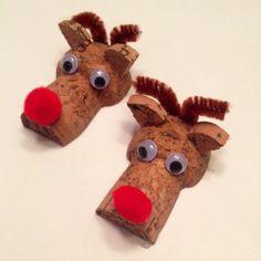 Champagne cork reindeers