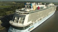 Float out of Quantum of the Seas on August 13 2014 at Meyer Werft in Papenburg, Germany. Image from Meyer Werft webcam.
