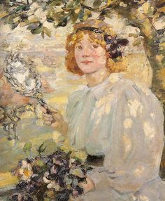 ⊰ Posing with Posies ⊱ paintings of women and flowers - Bessie MacNicol / Under The Apple Tree 1899