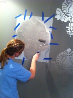 Metallic wall stencils make any room look so much more sophisticated