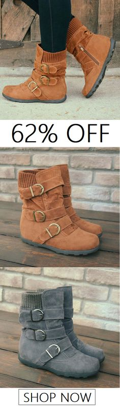Cushioned Low-Calf Buckled Boots Low Heel Knitted Fabric Zipper Slip On Boots Look Fashion, Womens Fashion, Fashion 2018, Cheap Fashion, Fashion Trends, Zapatos Shoes, Slip On Boots, Snow Boots Women, Cute Boots