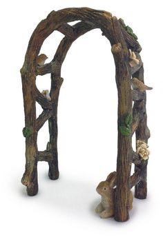 Miniature Fairy Garden Wooden Arch - don't miss the birds perched on the sides and the bunny too!