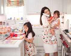 Charlotte York with her daughters in a lovely matchy-matchy outfit