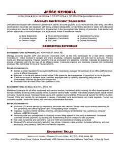 Resume Sample Of A Bookkeeper With Extensive Experience In Payroll,  Accounts Payable, Accounts Receivable, Data Entry And Office Administration.