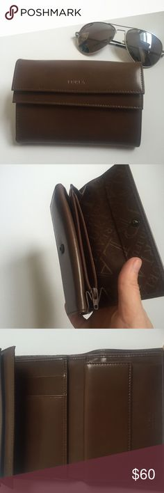 NWOT Furla Brown Leather Wallet This new without tags brown leather Furla wallet is brand new, never worn. Great condition and very stylish. There are 3 distinct card slots, one zippered slot, and one button pouch. Please send questions and offers along!  Furla Bags Wallets