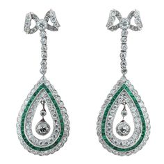 1stdibs - Diamond & Emerald in Platinum Earrings explore items from 1,700  global dealers at 1stdibs.com
