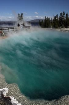 A thermal pool steams on the West Thumb portion of Yellowstone Lake, Wyoming.