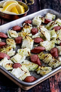 Roasted lemon cabbage and pieces of sausage cook together for a low-carb sheet pan meal that's easy and delicious! And depending on the sausage you choose this tasty sausage and cabbage sheet pan meal can be low-carb, Keto, low-glycemic, gluten-free, and South Beach Diet friendly. Use the Diet-Type Index to find more recipes like this…