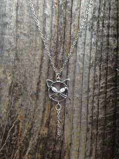 Joleen the Silver Kitty Necklace by GoodLookingObjects on Etsy, $28.00
