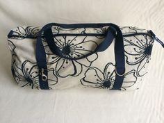 1 - classic big bag H45cm L70cm tessuto vintage cotone fondo bianco fiori blu / corde cotone blu