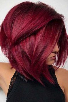 Stylish Short Hair Ideas Cherry Red Straight A Line Bob Cut 1 1