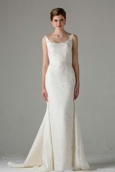 "Silk Taffeta Column Gown With Scoop Neckline & Sweep Watteau Train; ""Chartres"" by Anne Barge Fall 2015~~"