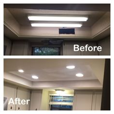 1970s kitchen light box before and after  Fluorescent light removed can lights added.