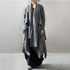 Women autumn and winter cotton linen loose long coat – Buykud