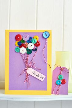 15 Diy mother's day cards - Little Piece Of Me Handmade Thank You Cards, Make Your Own Card, Button Cards, Mother's Day Diy, Mothers Day Cards, Crafty Projects, Card Tags, Homemade Cards, Craft Gifts