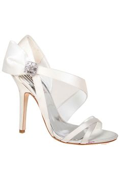 Badgley Mischka Sophia High Heel Sandals In White Satin. Not sure if I ever would ..or could wear heels like this but they are lovely!