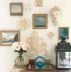 Gallery wall with paintings and architectural elements Patina Farm, Statement Wall, Chinoiserie Chic, Architectural Elements, Hanging Art, Plaster, Home Decor Inspiration, Modern Rustic, Home Art