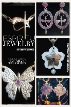 Handmade, one-of-a-kind, fine (99.9) and sterling silver jewelry by artist, Cilette Swann. Contact: cece at espiritujewelry dot com for pricing, shows, availability and custom work. c) 2018 Gypsy Soul, Sterling Silver Jewelry, Tatting, Crochet Earrings, Dots, Pendants, Brooch, Gemstones, Pearls