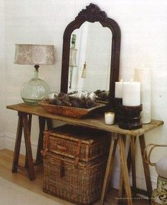 Oh where can I create something like this in my house?? <3 - I already have the mirror and the wicker... hmm