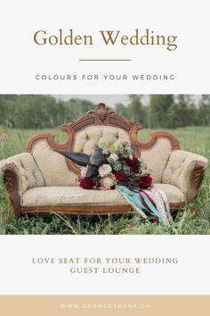 Colour Guide Series - A Golden Wedding Wedding Rentals, Wedding Events, Plan Your Wedding, Wedding Planning, Wedding Ideas, Gold Sofa, Wedding Lounge, Spring Wedding Decorations, Spring Wedding Inspiration