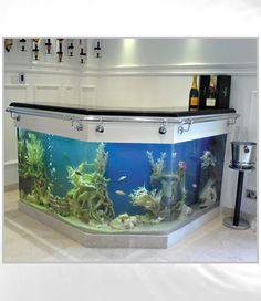 Fish tank bar... Those of u who know me know that I hate cleaning fish tanks but this might be worth it!?! ;-) Aquarium Design, Home Aquarium, Aquarium Fish Tank, Aquarium Ideas, Aquarium Terrarium, Cool Fish Tanks, Amazing Aquariums, Tanked Aquariums, Fish Aquariums
