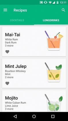Beautiful List Ui For Mobile App Ios App Design, Android Design, Android Ui, Mobile Ui Design, Web Design, Flat Design, Graphic Design, Cocktail App, Mobile Projector