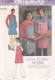 FREE US SHIP Simplicity 7254 Vintage Retro 1970's 70's Simple To Sew Apron Men Miss Uncut Factory Folded by LanetzLiving on Etsy