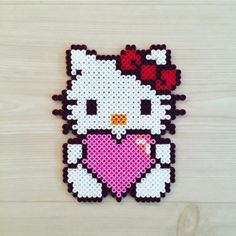 Billedresultat for perler beads hello kitty Hama Beads Design, Diy Perler Beads, Perler Bead Art, Pearler Bead Patterns, Perler Patterns, Pixel Art, Hello Kitty, Motifs Perler, Peler Beads