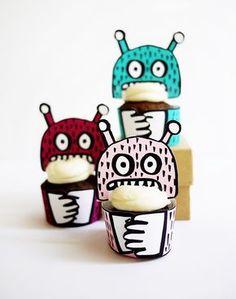 Printable Monster Mini-Cupcake Holders