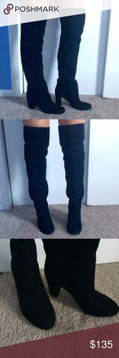 """Nine West Over the Knee Boots * Nine West over-the-knee black boots * LIKE NEW - worn once, they're just not my style so let them be yours! * So chic and sexy - perfect with a pair of jeans or a dress * Size 9 * Thick heel makes it comfortable for walking * Heel height: 3 1/2"""" * Suede upper Nine West Shoes Over the Knee Boots"""