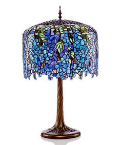 This Blue Stained Glass Grand Wisteria Table Lamp is perfect! #zulilyfinds