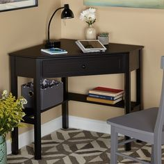 Corner Writing Desk with One Pullout Drawer and Shelf, Made of Sturdy MDF Wood, Fitting Any Home Studio Apartament and Office, Tabletop Destop Space for Display or Laptop, Multiple Finishes Black Corner Computer Desk, Wooden Corner Desk, Small Corner Desk, Corner Writing Desk, Desks For Small Spaces, Black Desk, Black Wood, Writing Table, Computer Desks
