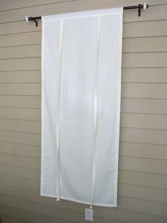 Ivory Cotton 60 Inch Long Stagecoach Window Shade Tie Up Curtain Roll Swedish Blind Off White