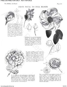 New Free ebooks at the Antique Pattern Library - Pintangle Zipper Flowers, Faux Flowers, Fabric Flowers, Silk Ribbon Embroidery, Hand Embroidery Patterns, Vintage Embroidery, Ribbon Flower Tutorial, Bow Tutorial, Ribbon Art