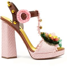Dolce & Gabbana Embellished raffia block-heel sandals (€1.290) ❤ liked on Polyvore featuring shoes, sandals, heeled sandals, embellished sandals, dolce gabbana sandals, t strap sandals and flower sandals