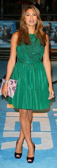 Eva Mendes emerald green dress