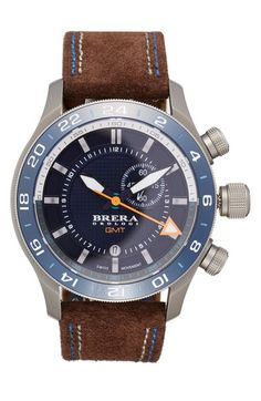 Main Image - Brera Orologi 'Eterno GMT' Chronograph Leather Strap Watch, 43mm
